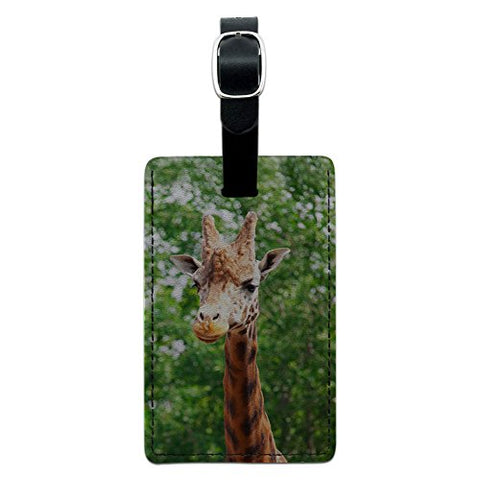Graphics & More Giraffe-African Zoo Animal Leather Luggage Id Tag Suitcase Carry-on, Black