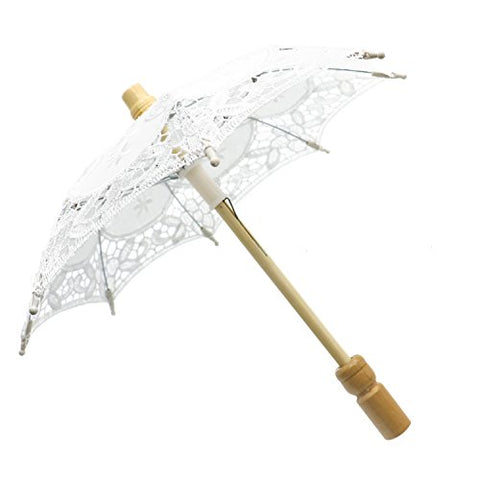 Buorsa 12'' Mini Vintage Wood Embroidery Pure Cotton Lace Umbrella Wedding Umbrella So Small for