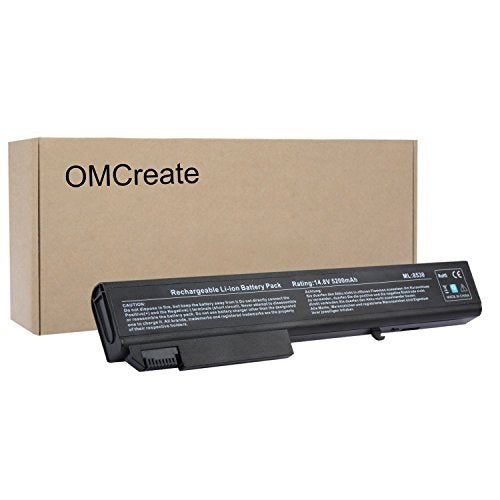OMCreate Battery for HP EliteBook 8530P 8540P 8530W 8540W 8730W 8740W / HP ProBook 6545B, fits P/N KU533AA 493976-001 - 12 Months Warranty [Li-ion 8-Cell]