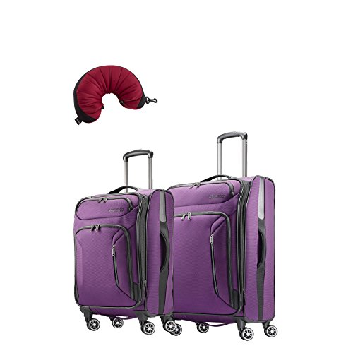 "American Tourister Zoom 3 Piece Bundle | 21"", 25"", Travel Pillow (Purple)"
