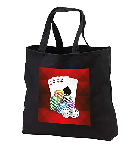 Sven Herkenrath Sport - Illustration of Poker Card with Chips Casino Hobby - Tote Bags - Black Tote