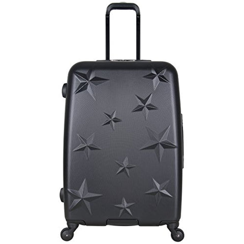 "Aimee Kestenberg Women'S 24"" Embossed Star Lightweight Abs 4-Wheel Upright Checked Luggage, Black"