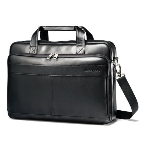 Samsonite Luggage Leather Slim Briefcase, Black, 16 Inch