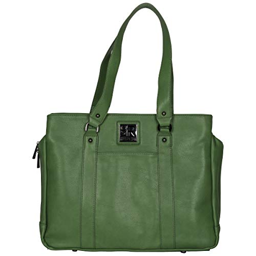 "Kenneth Cole Reaction Hit Women's Pebbled Faux Leather Triple Compartment 15"" Laptop Business Tote, Kelly Green"