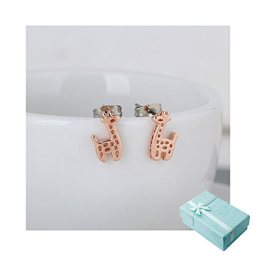 Acxico Hollow out Little Giraffe Pendant Stud Earrings (Rose Gold)
