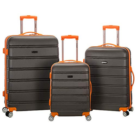 Rockland Melbourne 3 Pc Abs Luggage Set, Charcoal