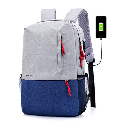 Canvas Laptop Backpack, Waterproof School Backpack With USB Charging Port For Men Women,