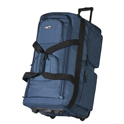 "Olympia Luggage 29"" 8 Pocket Rolling Duffel Bag (Navy W/ Black - Exclusive Color)"