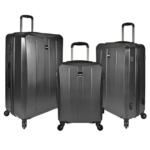 U.S. Traveler Highrock 3-Piece Hardside Spinner Set, Charcoal