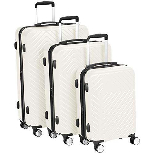 "AmazonBasics Geometric Luggage Expandable Suitcase Spinner - 3 Piece Set (20"", 24"", 28""), Cream"