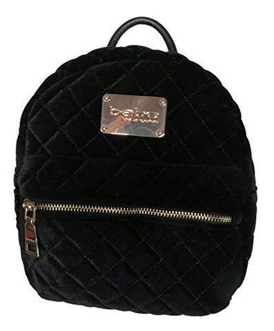 Bebe Maria Velvet Quilted Mini Backpack Black