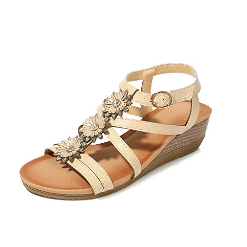 ♡QueenBB♡ Womens Wedge Sandals Summer Rhinestone Bohemian Beaded Ankle Strap Beach Wear Sandal Khaki