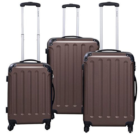 Goplus 3 Pcs Luggage Set Hardside Travel Rolling Suitcase Abs+Pc Globalway (Brown)