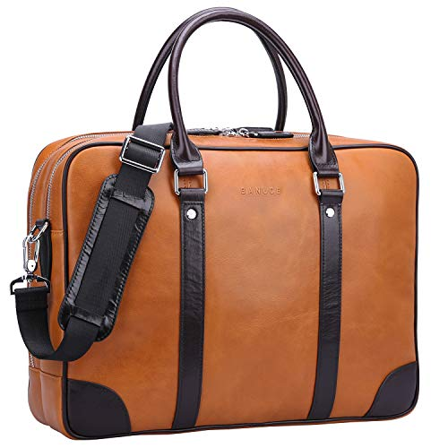 Banuce Vintage Genuine Oil-waxed Leather Briefcase for Men Business Attache Case Tote 14 inch