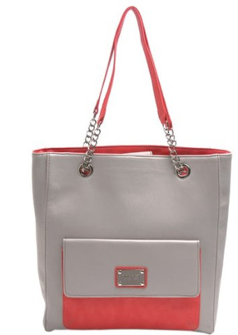 Envelope Tote Tote, Soft Touch Pvc, Color Mist Grey/Papaya