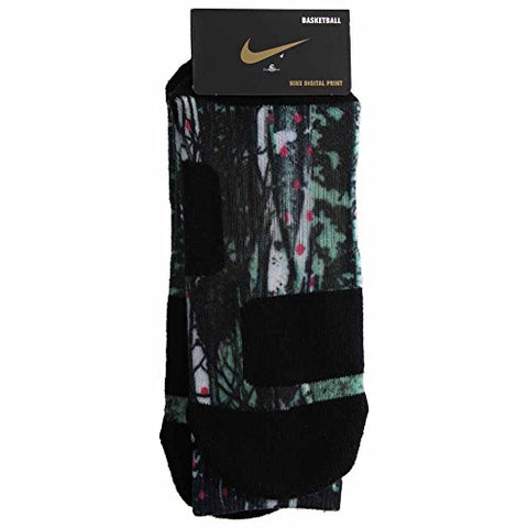 Nike Men's LeBron Elite Digital Print Basketball Socks-Multicolor-Large