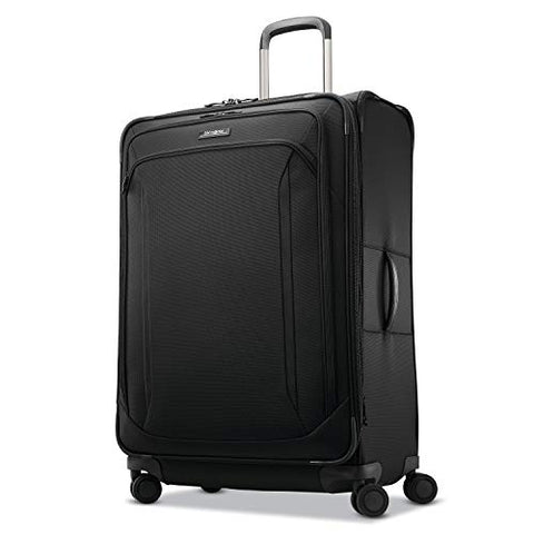 Samsonite Lineate Expandable Softside Checked Luggage with Spinner Wheels, 29 Inch, Obsidian Black