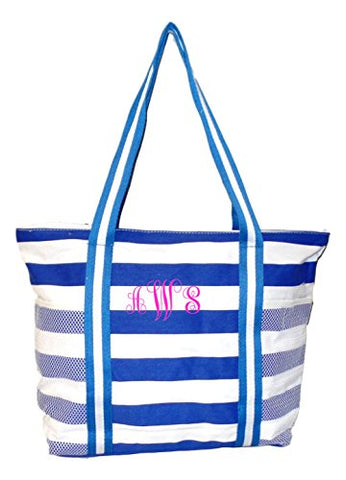 100% Cotton Stripe X-Large Beach Bag (Blue - Embroidered Monogram)