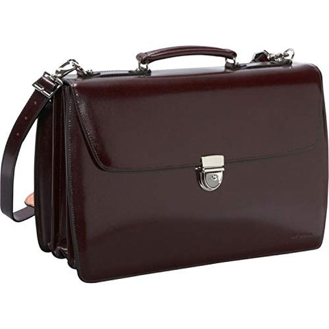 Jack Georges Elements Triple Gusset Flap Leather Briefcase W/open Back Pocket - Burgundy