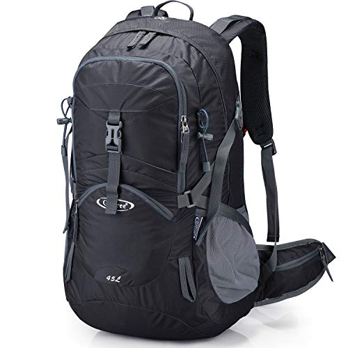 G4Free Black Hiking Backpack Backpacking Backpacks with Rain Cover Waterproof Bladder for Men
