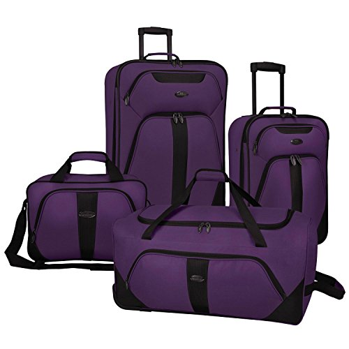 US Traveler Oakton 4-Piece Luggage Set,Purple,US