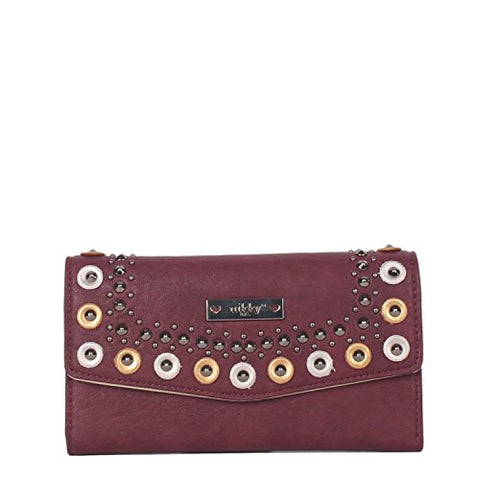 Nikky Women'S Rfid Blocking Trifold Wallet Travel Purse, Burgundy, One Size