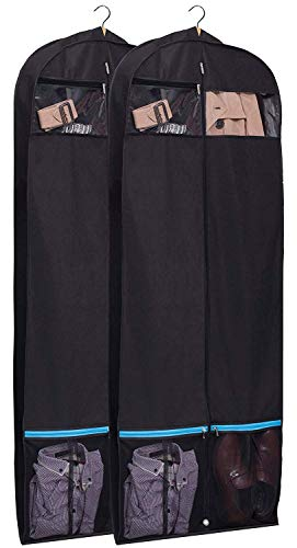 "KIMBORA 60"" Black Garment Bag Breathable Travel Storage with 2 Large Mesh Pockets and Carry Handles for Suits, Dresses, Coats, Tuxedos Cover (Pack of 2)"