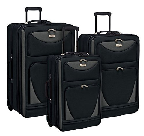 "3 Piece Expandable and Highly Durable ""Sky-View Collection"" Luggage Set with 28"" Suitcase, 24"" Upright, and 20"" Carry-On, Black Color Option"