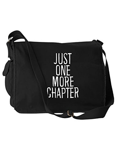 Funny Bookworm Just One More Chapter Black Canvas Messenger Bag