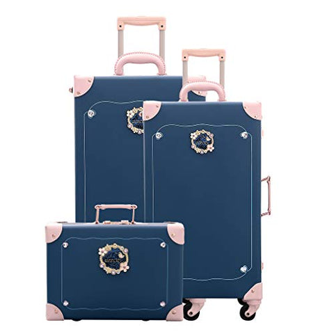 Girls Travel Suitcase Set Leather Luggage Softside Spinner With Silent Wheel 3 Pcs Fairy Blue