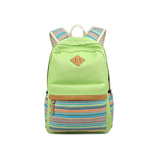 S Kaiko Canvas Backpack Casual Daypacks School Backpack for Women and Men Laptop Backpack Daypack Rucksack Traveling Backpack for Hiking Claimbing (green)