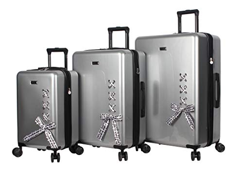 BCBGeneration Luggage Hardside 3 Piece Suitcase Set with Spinner Wheels (One Size, Urban Bohemia Silver)