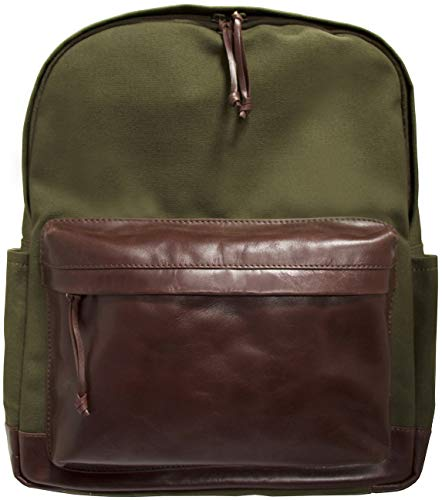 "Mancini Leather Goods Backpack for 15.6"" Laptop (Olive - Brown Trim)"