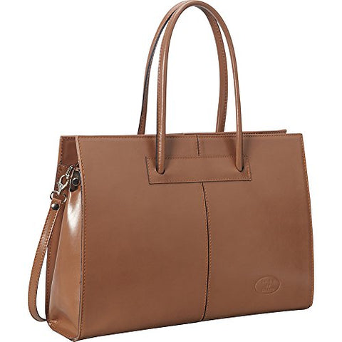 Sharo Leather Bags Women's Genuine Leather Laptop Tote (Café Ole)