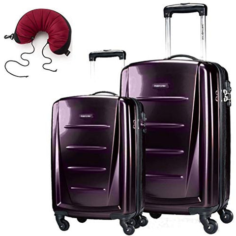 Samsonite Winfield 2 Fashion 2 Piece Bundle Spinner 24 And 28 With Travel Pillow (Purple)