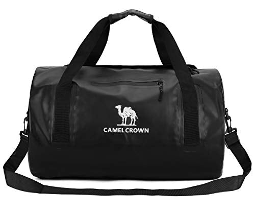 CAMEL CROWN Waterproof Duffle Bag, 43L Lightweight Duffel Bag Traveling Backpack Luggage Bag Dry Bag for Outdoors Sports, Traveling, Boating,Camping, Black