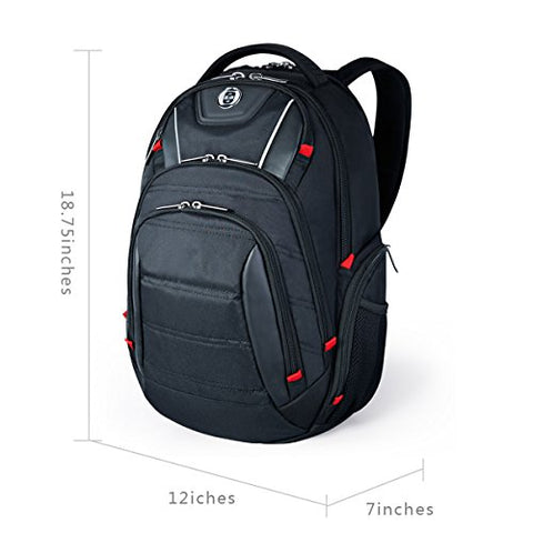 Laptop Backpack,Swissdigital Busniess Travel Polyester Backpack With Usb Charging Port And Rfid