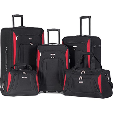 Flieks 5 Piece Luggage Set Deluxe Expandable Rolling Suitcase (black&red)