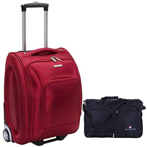 "Travelon 18"" Wheeled Underseat Bag - Black, with Large 21"" Foldable Sporty Duffle Bag (Red)"