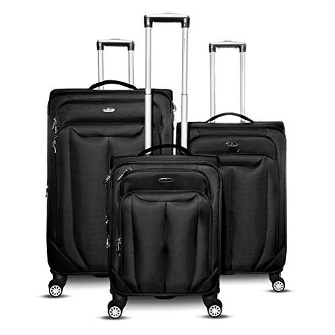 Gabbiano Bellagio Collection 3 Piece Softside Spinner Luggage Set (Black)