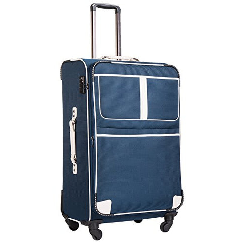 Coolife Luggage Expandable Suitcase Spinner Softshell Tsa Lock (L(28In), Navy)