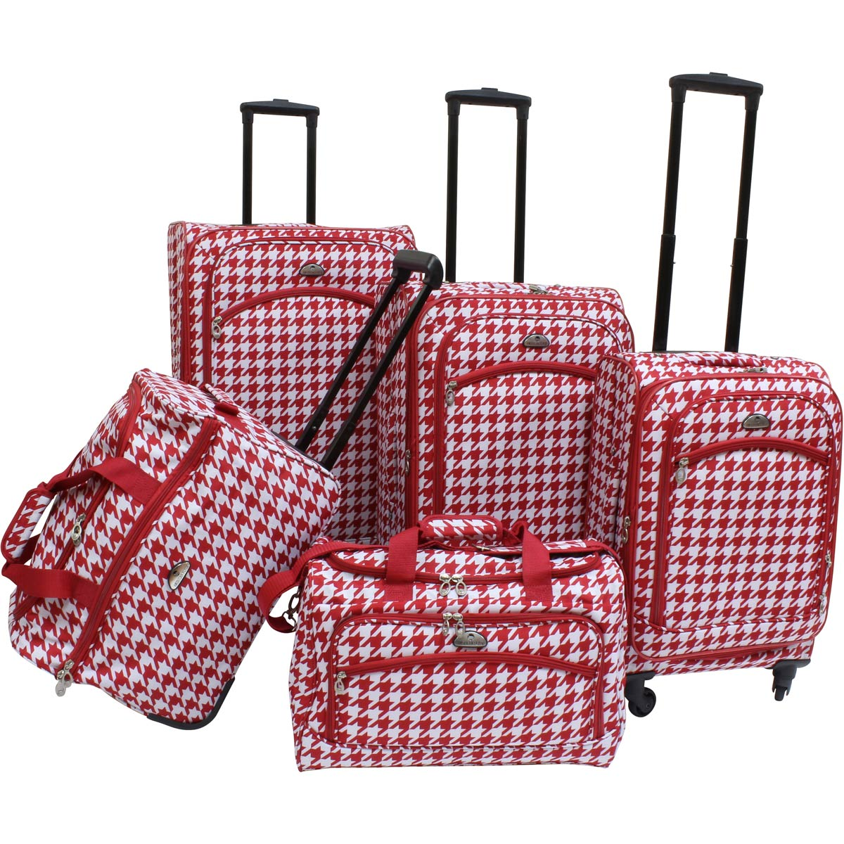 American Flyer Houndstooth 5pc Spinner Luggage Set