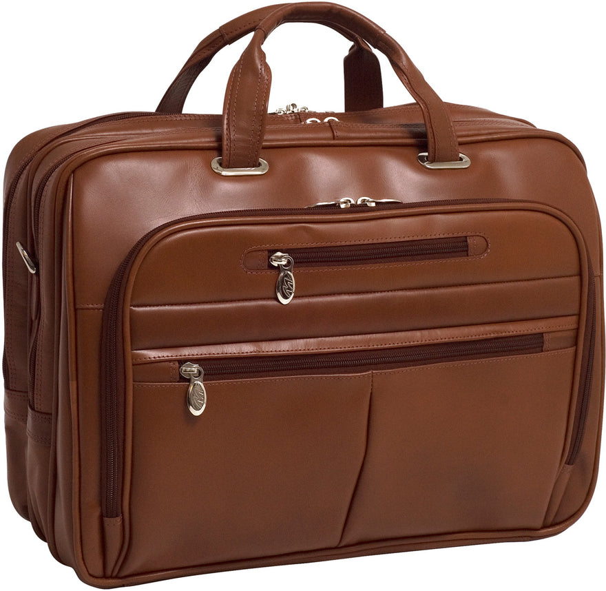 McKlein R Series Rockford Leather FlyThrough 17in Laptop Case