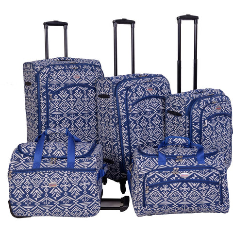 American Flyer Aztec 5pc Spinner Luggage Set