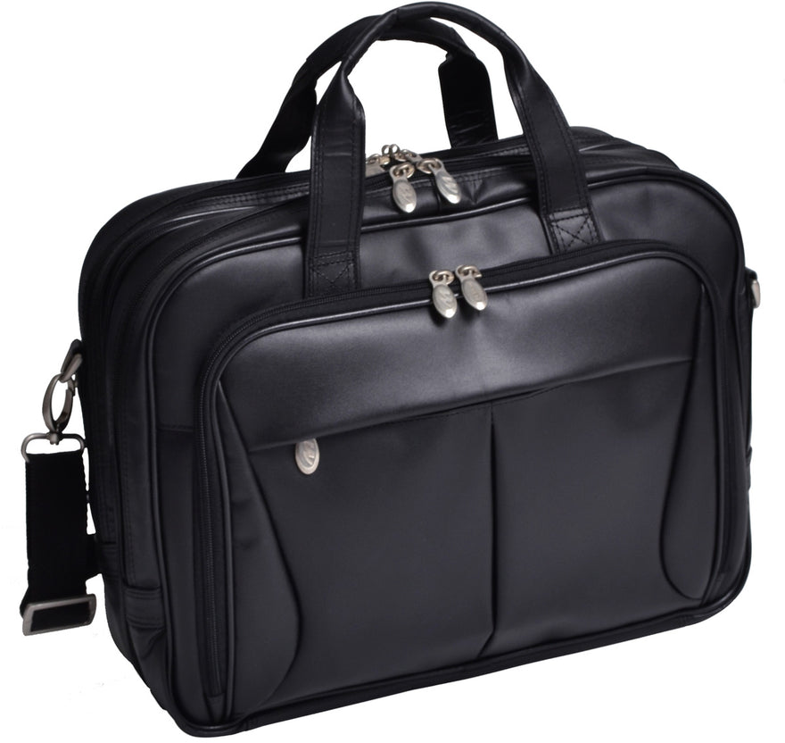 McKlein R Series Pearson Leather Expandable Dbl Compartment Briefcase