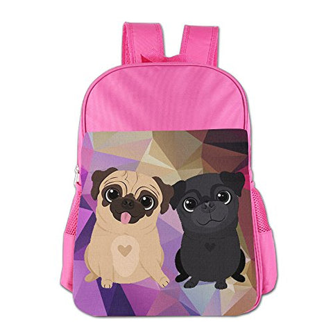Gibberkids Child's Pugs Dog Cartoon Cute School Backpack Bookbag Boys/Girls For 4-15 Years Old Pink