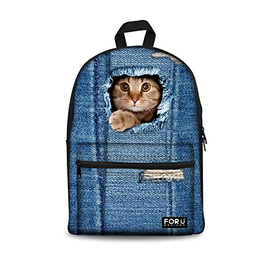 doginthehole Sweety Denim Cats Dogs School Back Pack Shoulder Book Bags