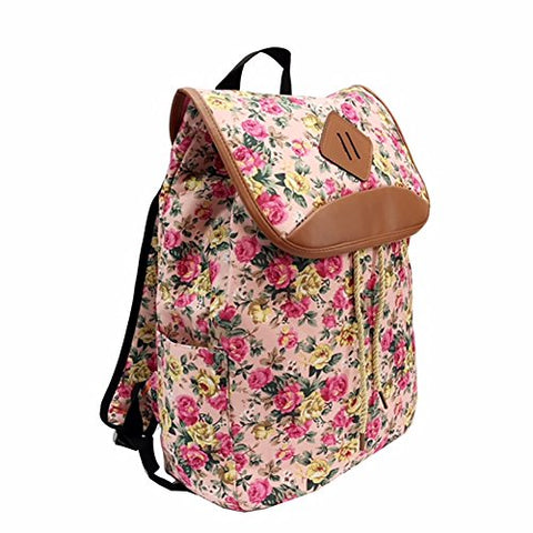 Trendy Flyer Backpack Travel Overnight Tote Duffel Purse Pink Flowers
