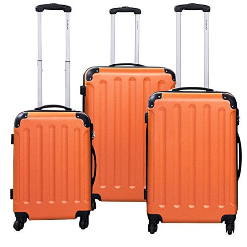 Goplus 3 Pcs Luggage Set Hardside Travel Rolling Suitcase Abs Globalway (Orange)