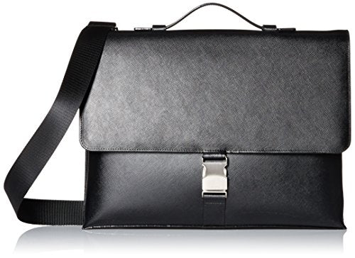 Calvin Klein Men's Saffiano Attache, Black, One Size